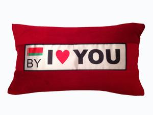 Автоподушка I Love you красная