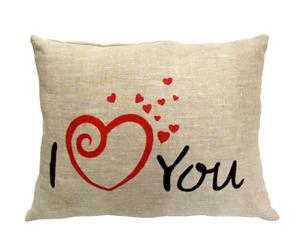 "Декоративная подушка из льна""I love you"" Я люблю тебя"