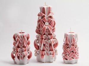 Резные свечи Гжель в бoрдовом